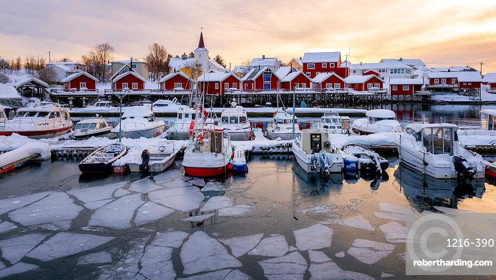 Reine harbour in winter, Lofoten Islands, Nordland, Norway, Europe
