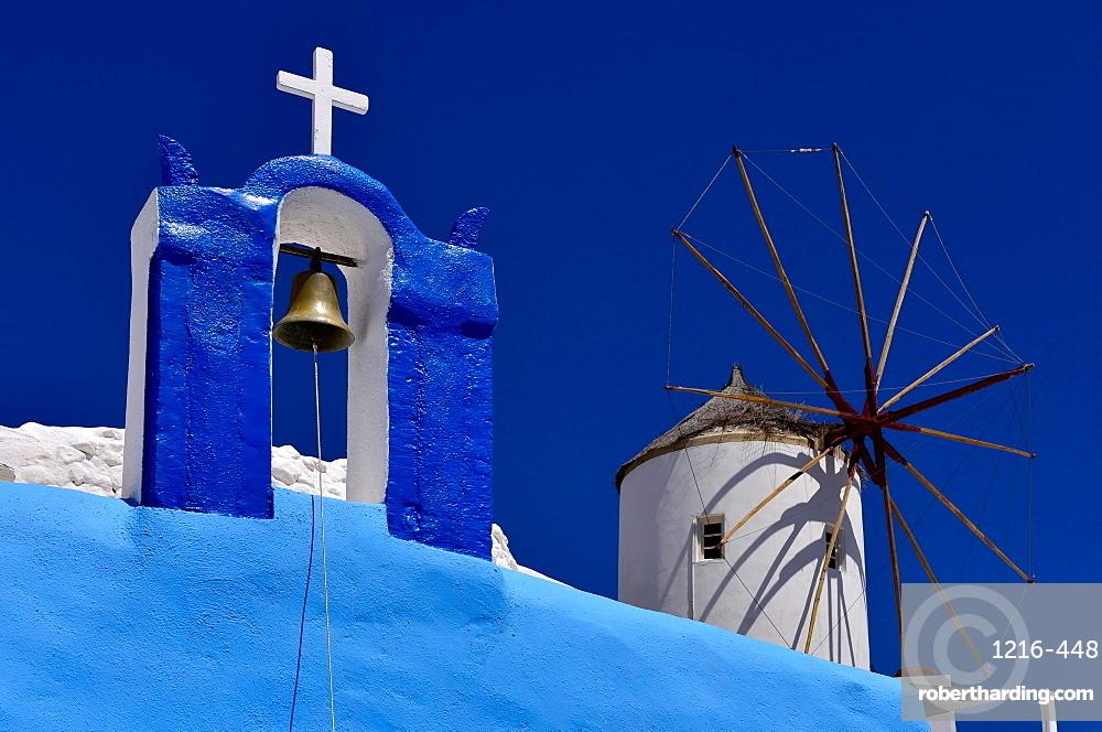 Oia Church and Windmill, Oia, Santorini, Cyclades, Aegean Islands, Greek Islands, Greece, Europe