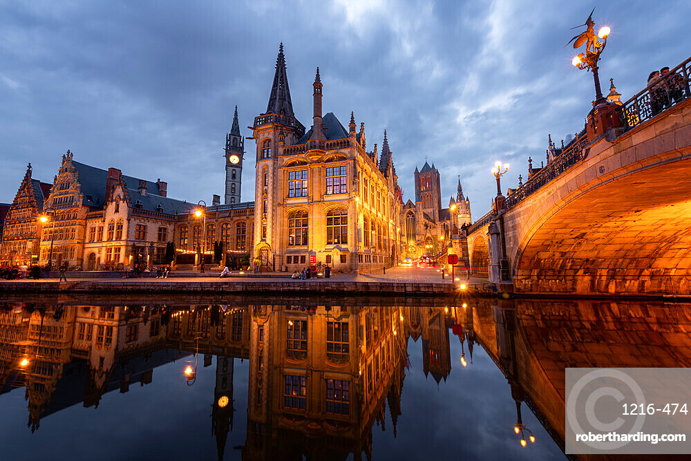 Old Post Office and St. Nicholas' Church from the side of Michielsbrug (St. Michael's bridge), Ghent, Flanders, Belgium, Europe