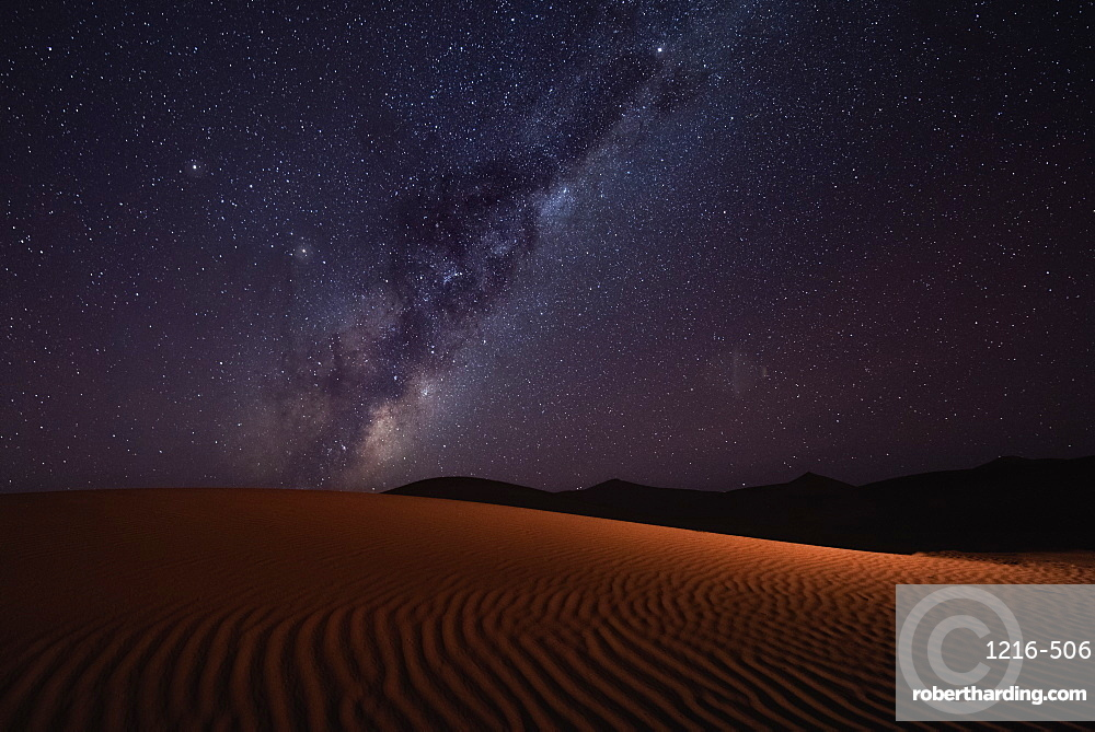Milky Way rising over the sand dunes of Sossusvlei, Namibia, Africa