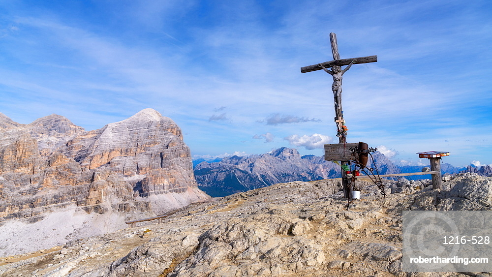 Summit Cross of Monte Lagazuoi, Dolomites, Italy, Europe