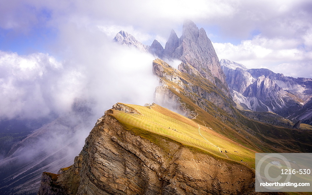 Dramatic Seceda mountain, Dolomites, Italy, Europe