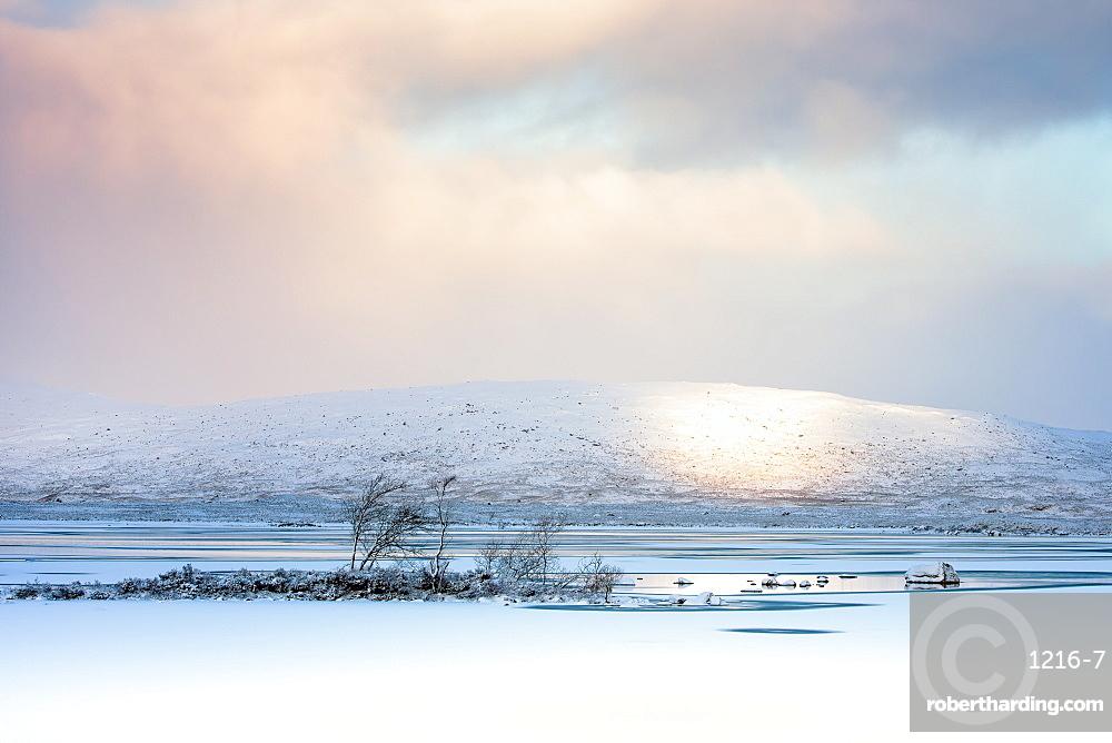 Winter view across Lochain na h'achlaise at dawn, Rannoch Moor, Highland, Scotland, United Kingdom, Europe