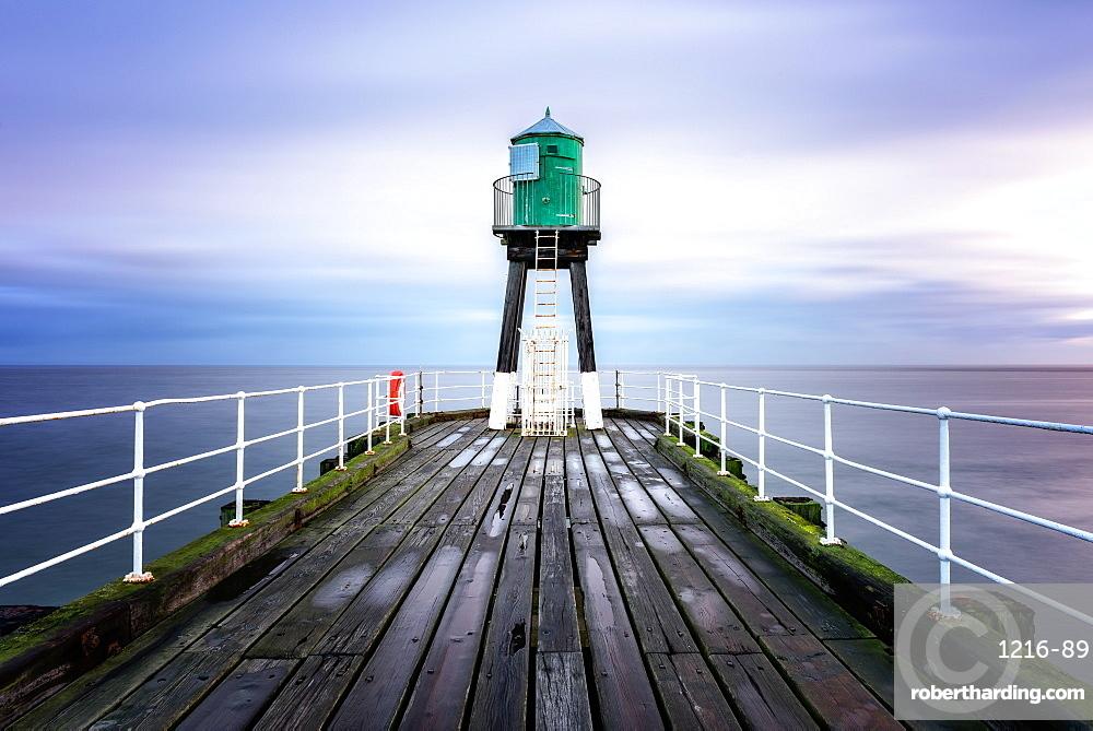 Whitby Pier at sunrise, Yorkshire, England, United Kingdom, Europe