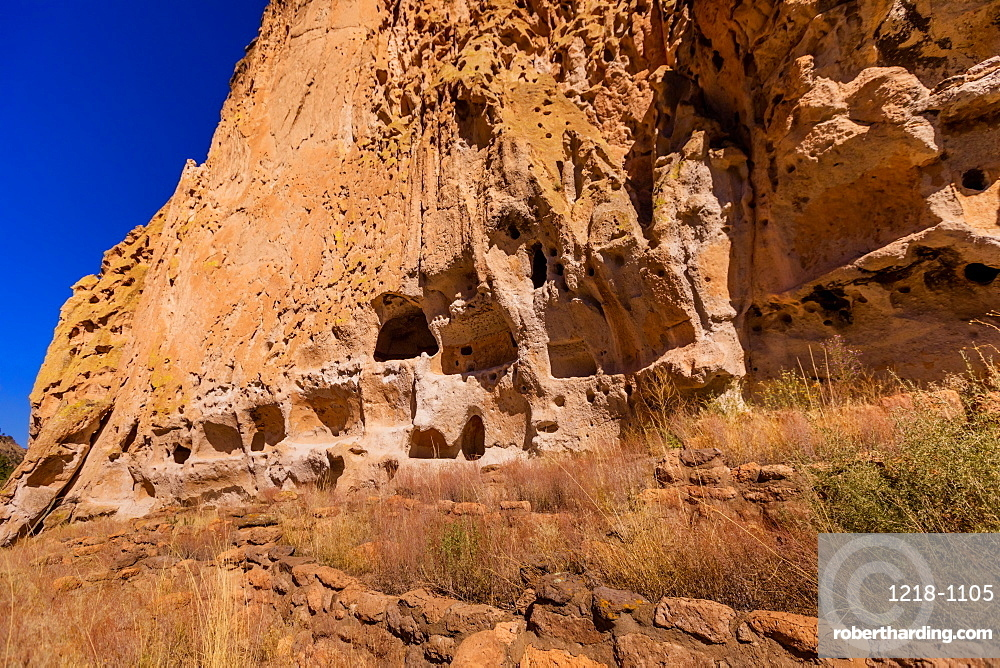 Cave dwellings on the Cliffside of Pueblo Indian Ruins in Bandelier National Monument.