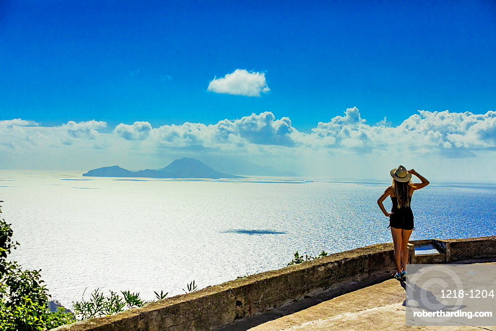 Woman taking in the captivating view at the top of Saba Island, Netherlands Antilles, West Indies, Caribbean, Central America