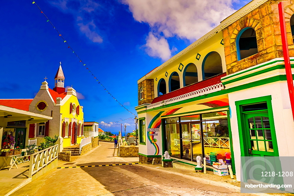 Beautiful village road on Saba Island, Netherlands Antilles, West Indies, Caribbean, Central America