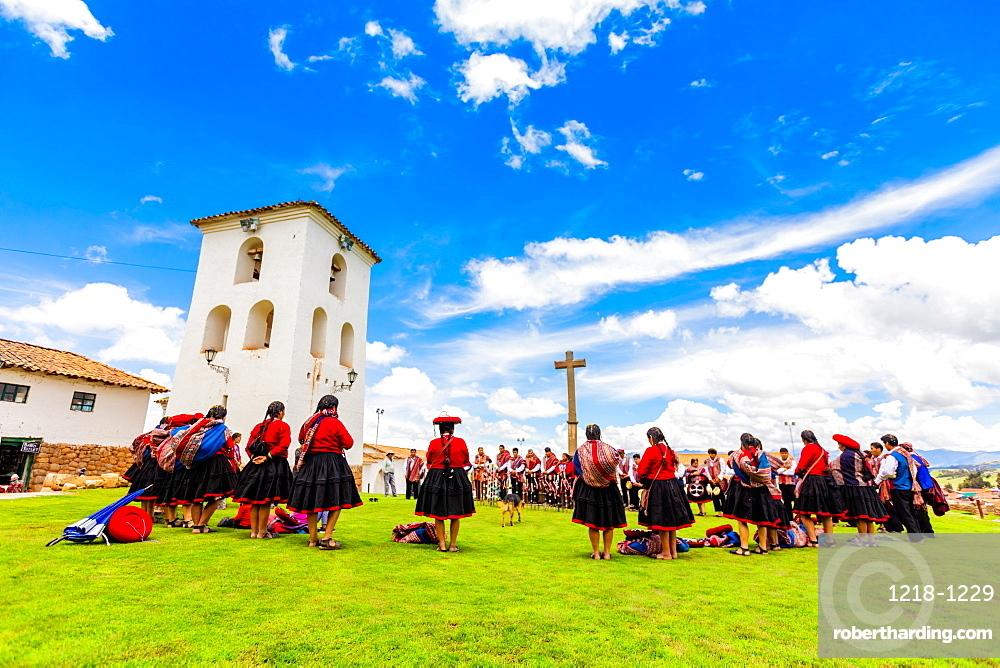 Locals of Chinceros celebrating Easter, Chincheros, Peru, South America
