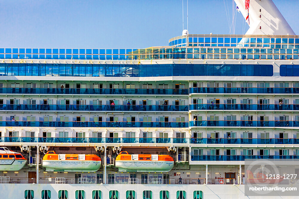 Princess Cruises cruise ship the Coral Princess is finally allowed to dock in Miami with sick passengers with the COVID-19 virus, Miami, Florida, United States of America, North America