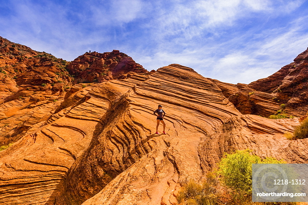 Woman hiking around the Zion national park.