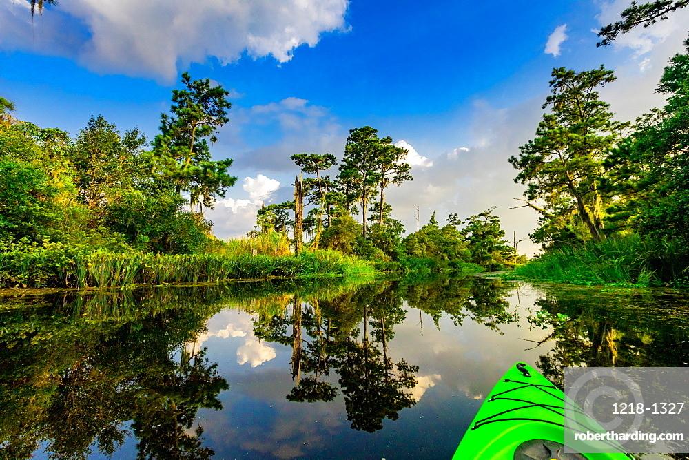Kayaking through Cane Bayou.