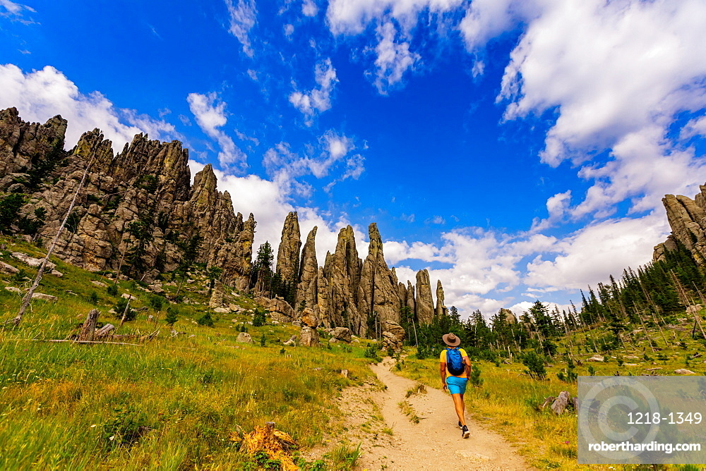 Man hiking the trails and enjoying the sights in the Black Hills of Keystone, South Dakota, United States of America, North America