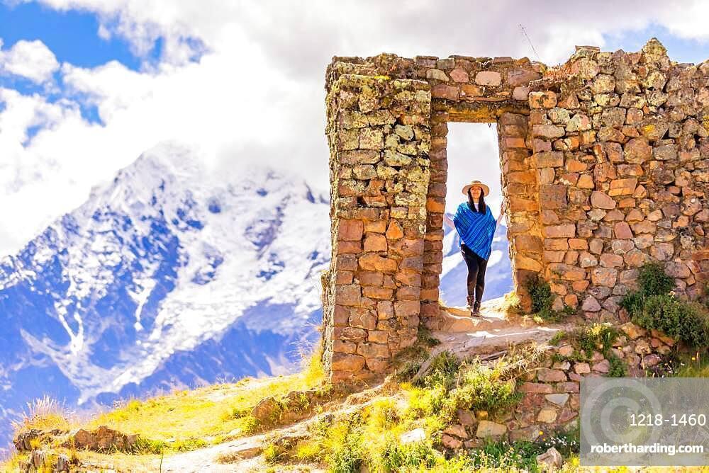 Woman exploring Inti Punku or also known as 'sun gate'.