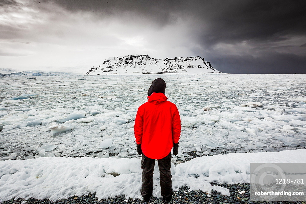 Taking in the view of glaciers in Granite Bay, on mainland Antarctica, Polar Regions