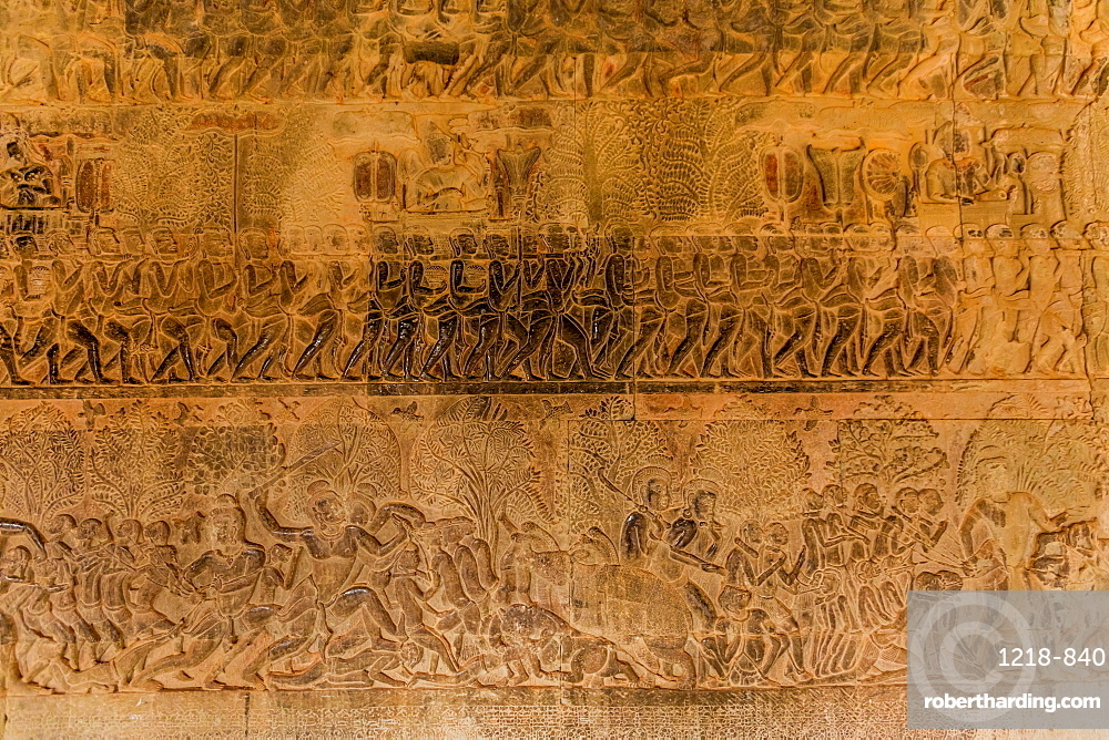 Hand-carved stone walls at Angkor Wat temples, Angkor, UNESCO World Heritage Site, Siem Reap, Cambodia, Indochina, Southeast Asia, Asia