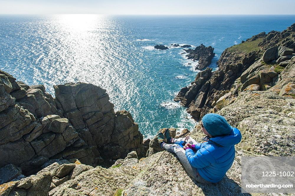 Rugged Cornish coastline near Land's End at the westernmost part of the British Isles, Cornwall, England, United Kingdom, Europe