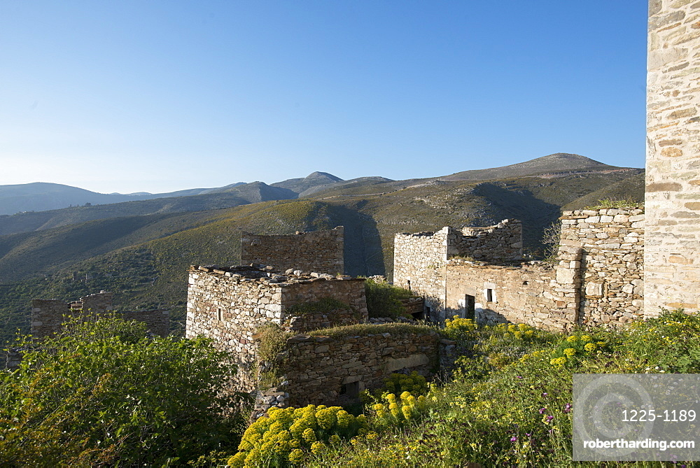 The ancient towers of Vathia among wild spring flowers on the Mani Peninsula in the Peloponnese, Greece, Europe
