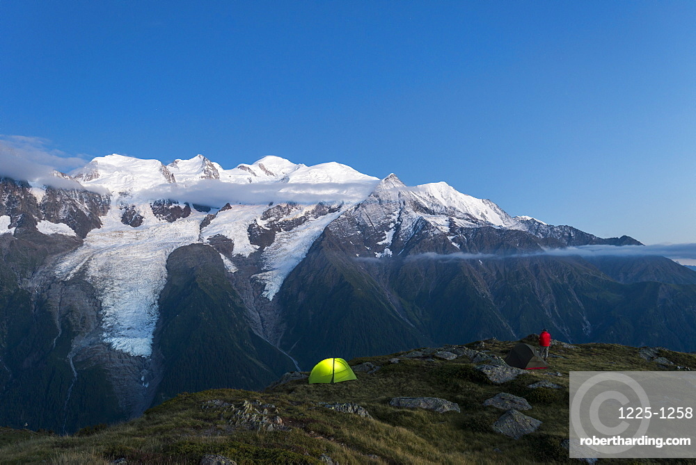 WIld camping on the GR5 trail or Grand Traverse des Alps near Refuge De Bellachat with views of the Mont Blanc, Chamonix, Haute Savoie, Auvergne-Rhone-Alpes, French Alps, France, Europe