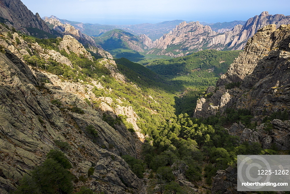 Trekking on the GR20 in Corsica near the Aiguilles de Bavella towards Refuge d'Asinao, Corsica, France, Mediterranean, Europe