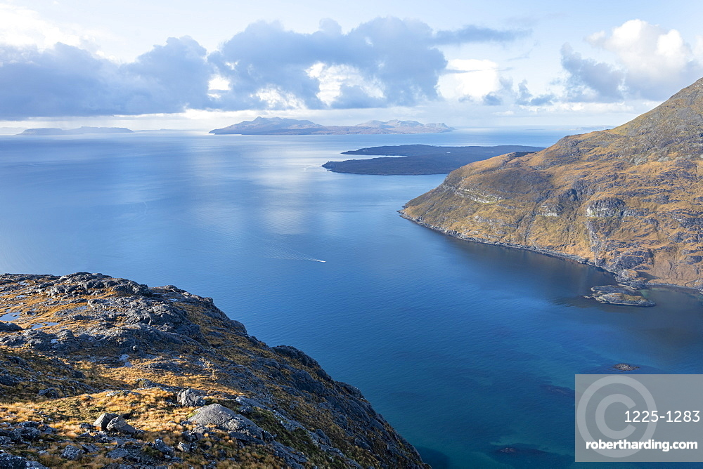 The Isle of Soay seen from the top of Sgurr Na Stri on the Isle of Skye, Inner Hebrides, Scotland, United Kingdom, Europe