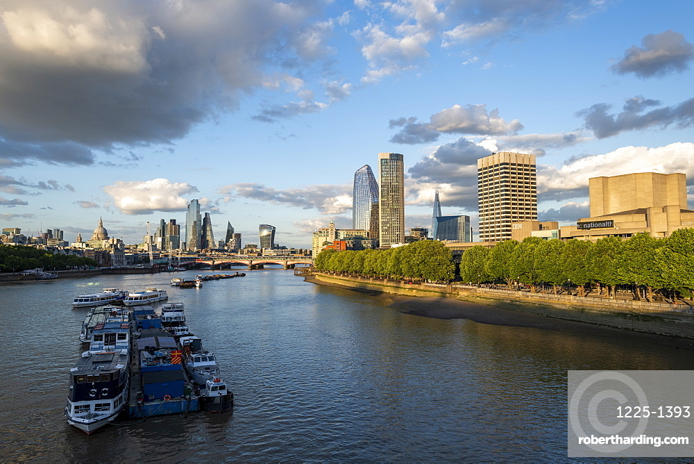 The City of London and Southbank from Waterloo Bridge, London, England, United Kingdom, Europe