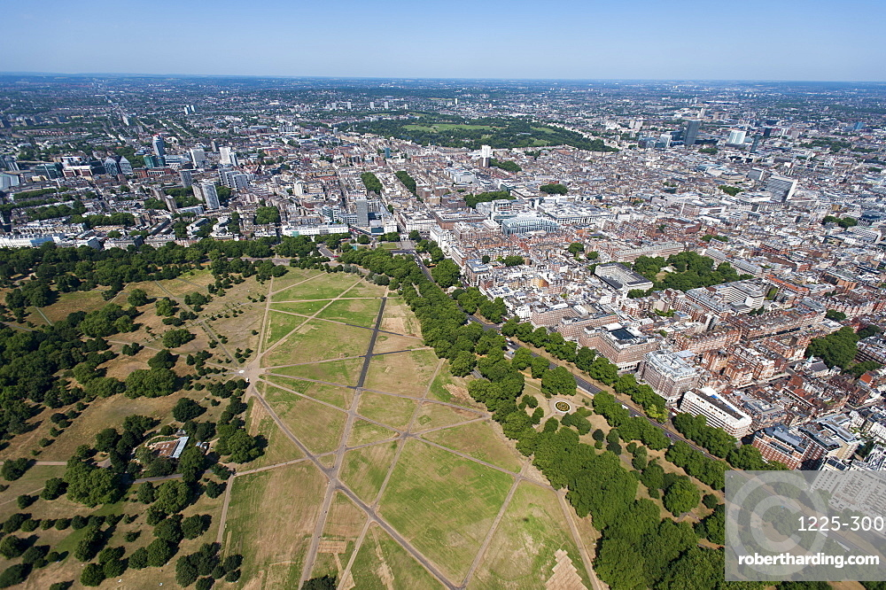 Aerial view of Hyde Park and London, England, United Kingdom, Europe