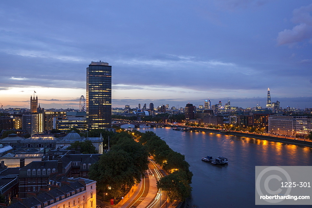 Tilt Shift lens effect image of the River Thames from the top of Riverwalk House, London, England, United Kingdom, Europe