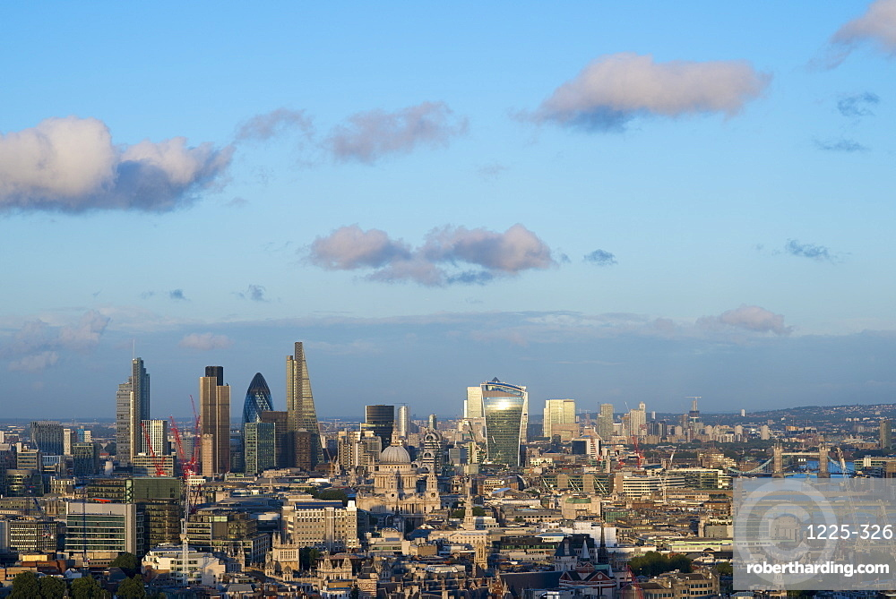 Vew of London skyline and the River Thames from the top of Centre Point tower across to the The Shard, The Gerkin, Tate Modern and Tower Bridge, London, England, United Kingdom, Europe
