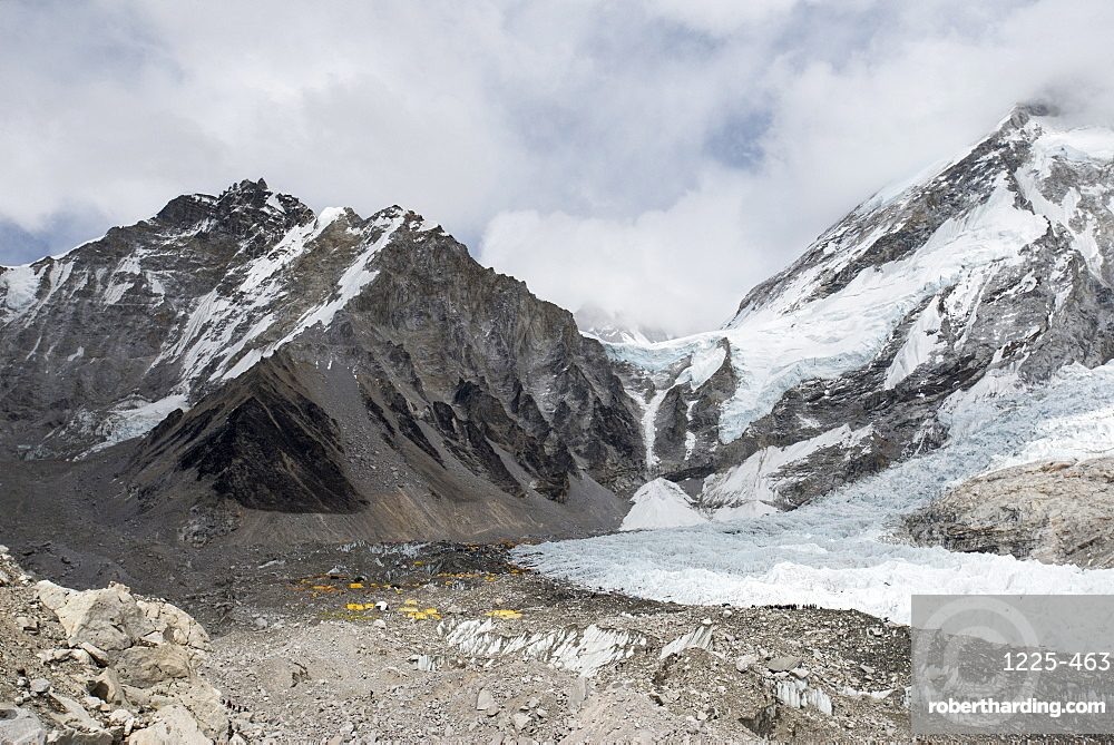 Everest Base Camp at 5350m seen here as a scattering of tents in the distance at the back of the Khumbu glacier, Khumbu Region, Nepal, Himalayas, Asia