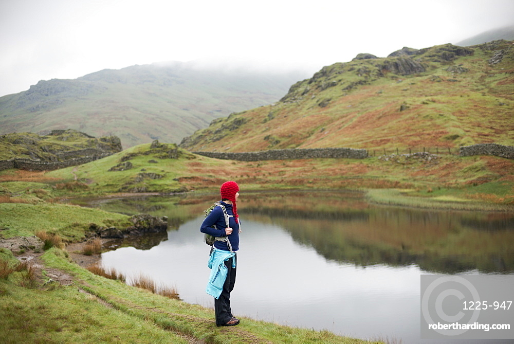 A woman looks out over Alcock Tarn near Grasmere, Lake District National Park, Cumbria, England, United Kingdom, Europe