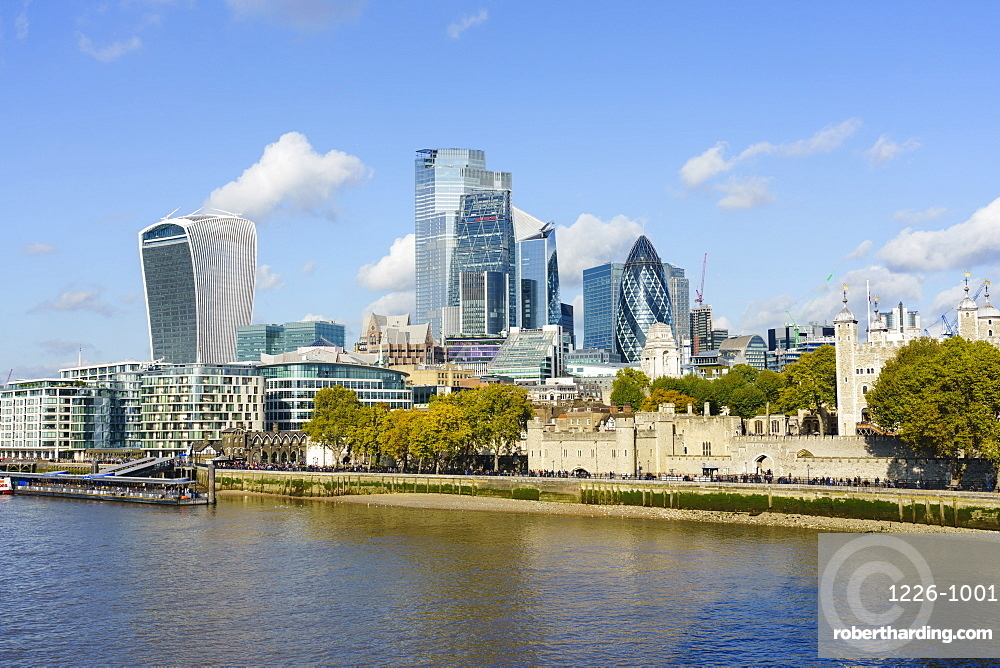 City of London skyscrapers and the Tower of London viewed across the River Thames, London, England