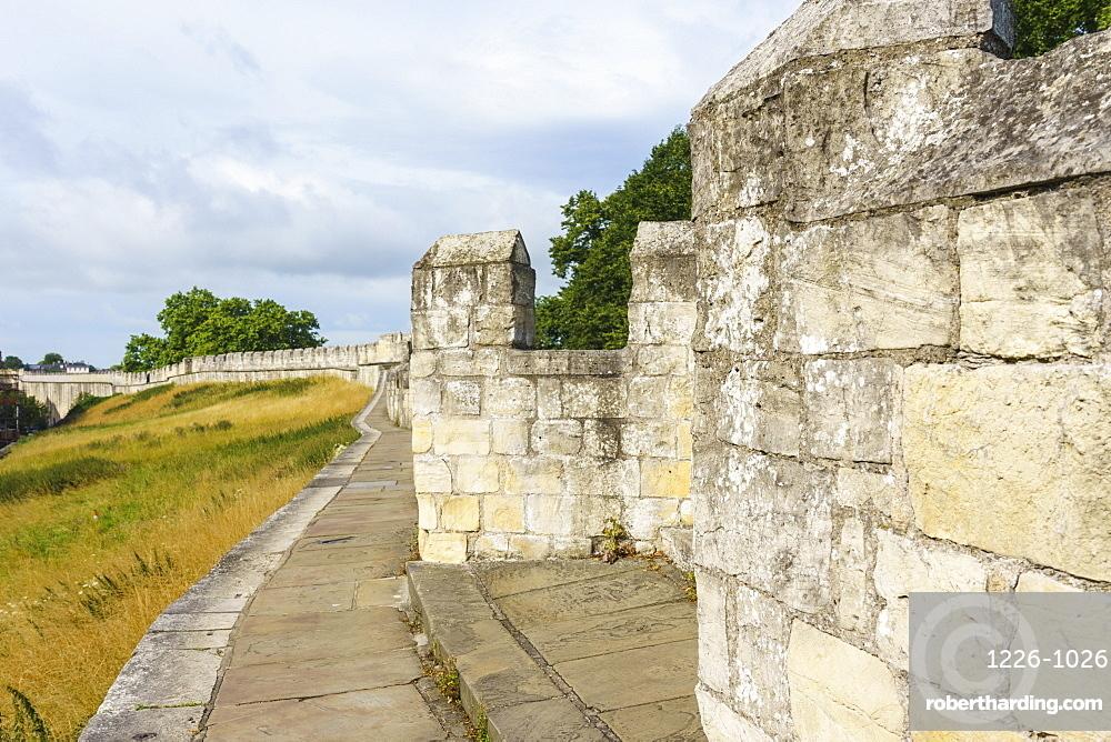 Medieval city walls, York, North Yorkshire, England, United Kingdom