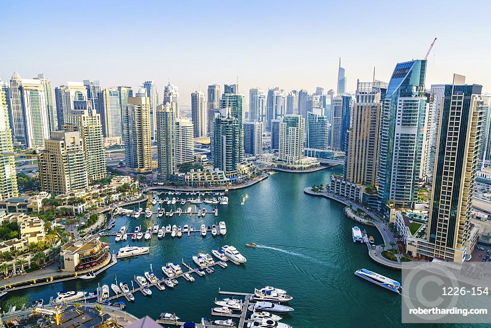 High view of Dubai Marina, Dubai, United Arab Emirates, Middle East