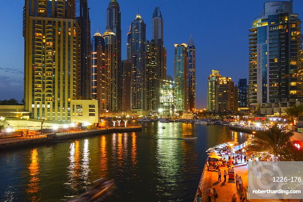 Dubai Marina by night, Dubai, United Arab Emirates, Middle East