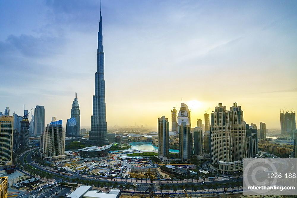 Burj Khalifa and Downtown Dubai at sunset, Dubai, United Arab Emirates, Middle East