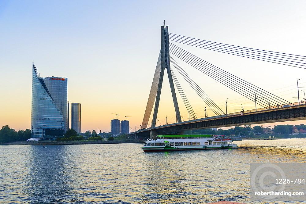 Vansu Bridge over Daugava River, Riga, Latvia, Europe