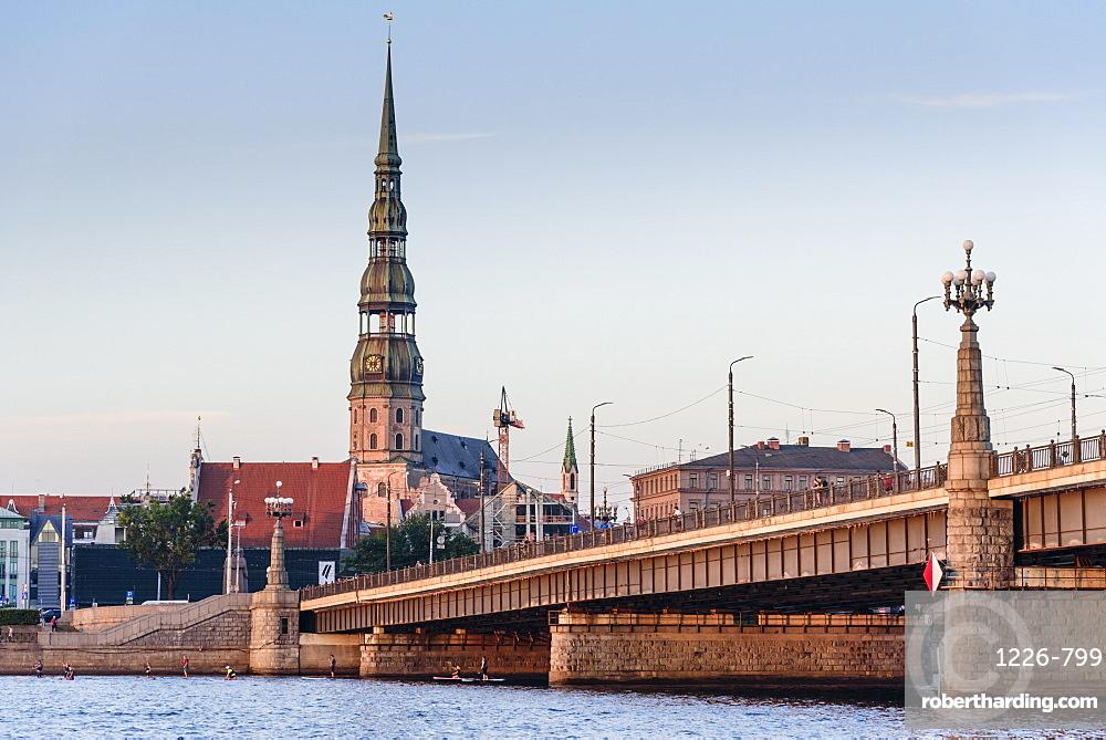 Sunset view from Daugava River, Riga, Latvia, Europe