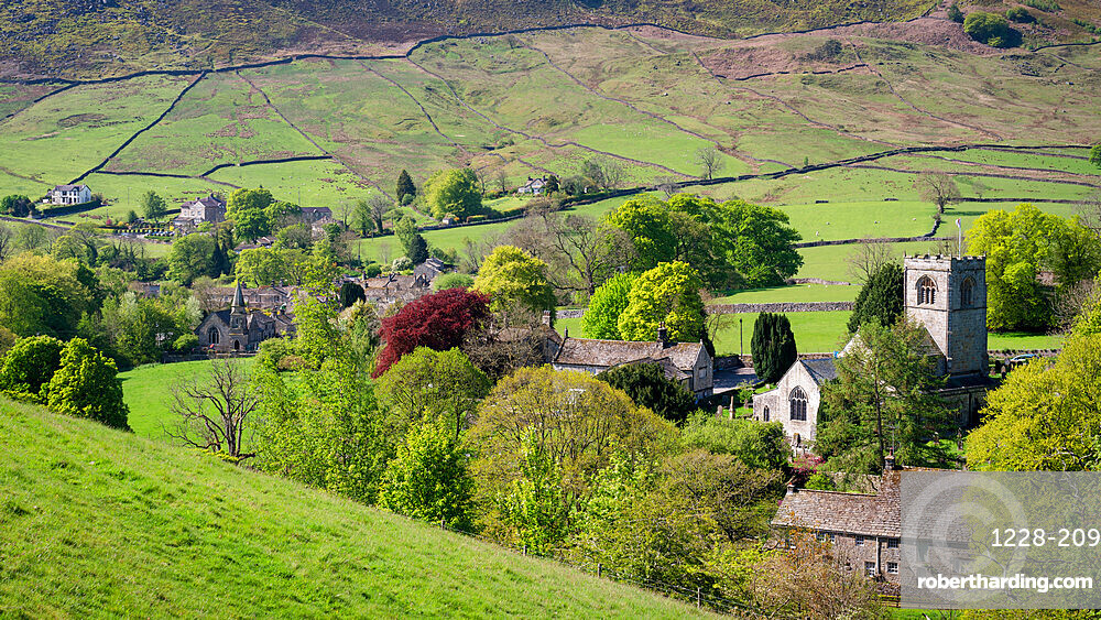 Burnsall Village and River Wharfe in springtime, North Yorkshire, UK.
