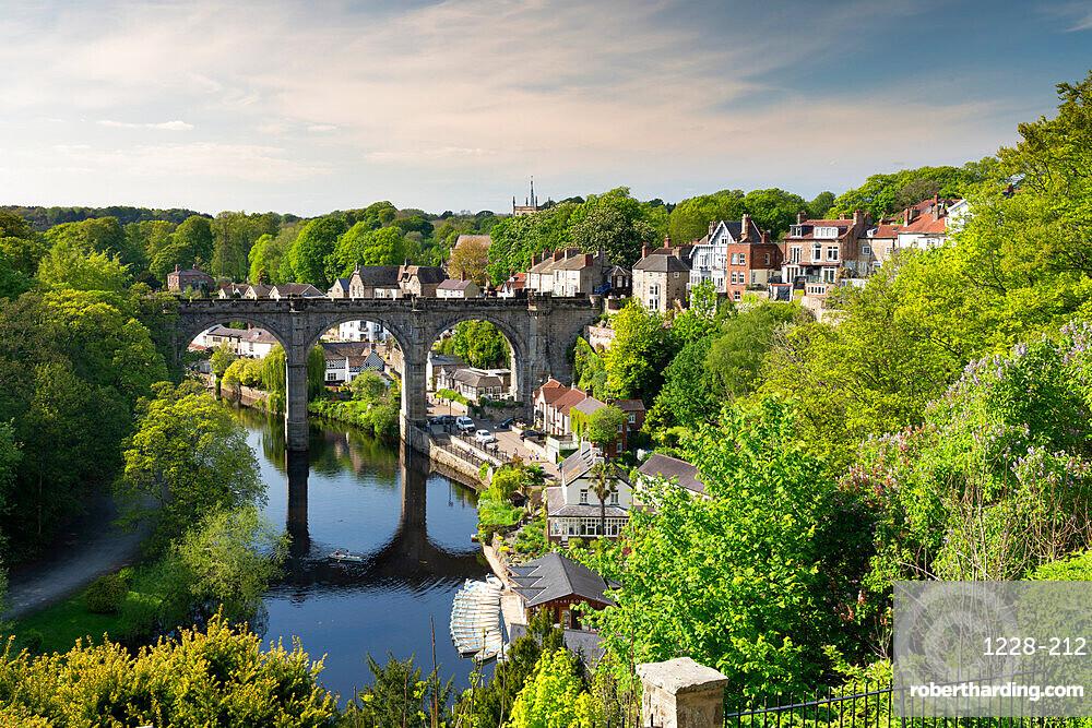 Knaresborough viaduct and the River Nidd in springtime, UK.