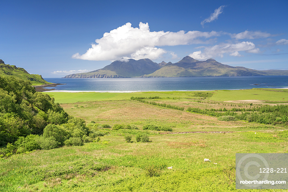 Laig Bay, Cleadale and distant Isle of Rum in mid-summer, Small Isles, Inner Hebrides, Scotland, United Kingdom, Europe