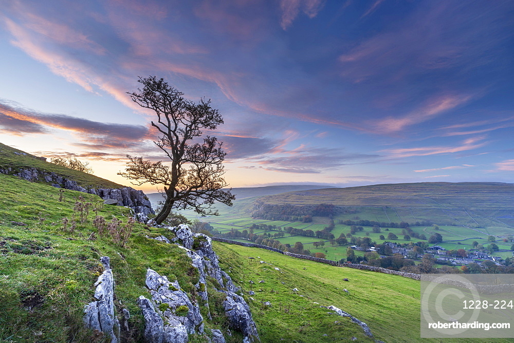 Dawn light over Arncliffe village in Littondale.