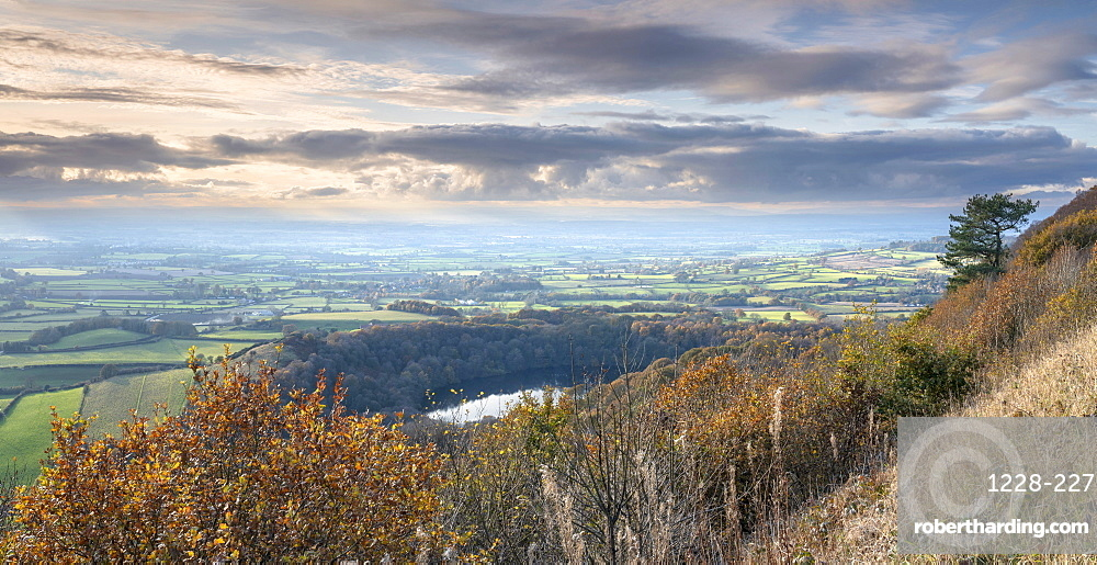 Late autumn colours around Lake Gormire viewed from Sutton Bank, along The Cleveland Way footpath, Yorkshire, England, United Kingdom, Europe