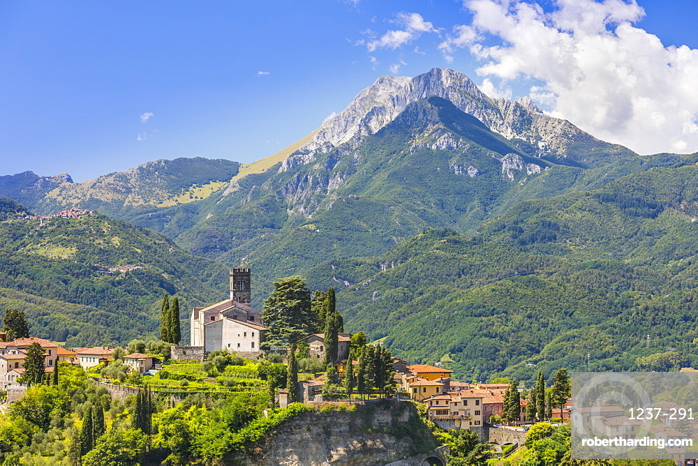 Duomo of Barga with La Pania della Croce, Apuane Alps, Tuscany, Italy, Europe.