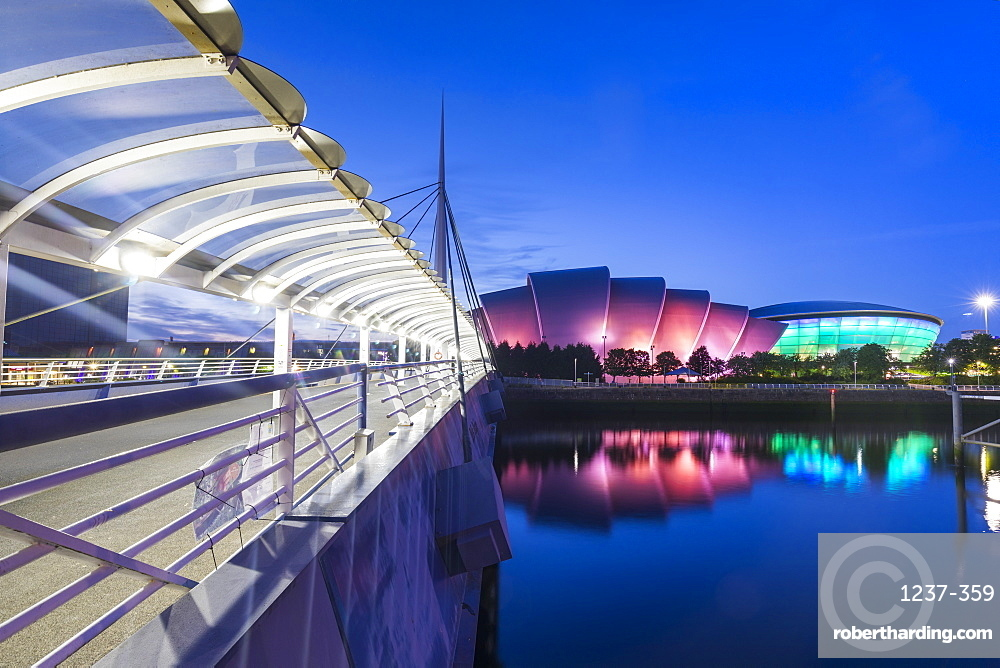 Bell's Bridge, the Armadillo, the SSE Hydro and the River Clyde, Pacific Quay, Glasgow, Scotland, United Kingdom, Europe