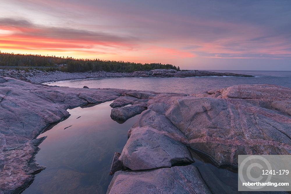 Waves and rocky coastline at sunset, Lackies Head and Green Cove, Cape Breton National Park, Nova Scotia, Canada, North America