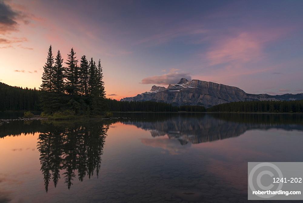 Sunrise at Two Jack Lake with Mount Rundle on the horizon, Banff National Park, Alberta, Canada