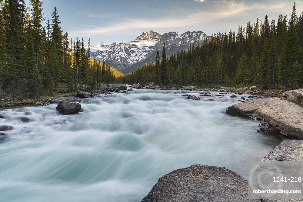 Mistaya Canyon waterfalls at sunset with evening light and Mount Sarbach, Banff National Park, Alberta, Canada