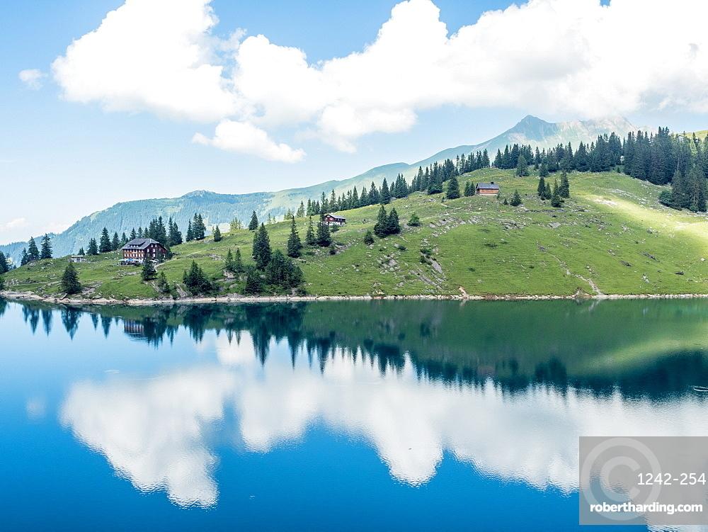 Bannalpsee, Swiss Alps, mountain and lake scene, Switzerland, Europe
