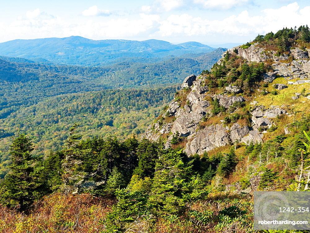 View from the peak of Grandfather Mountain, Blue Ridge Mountains, Appalachia, North Carolina, United States