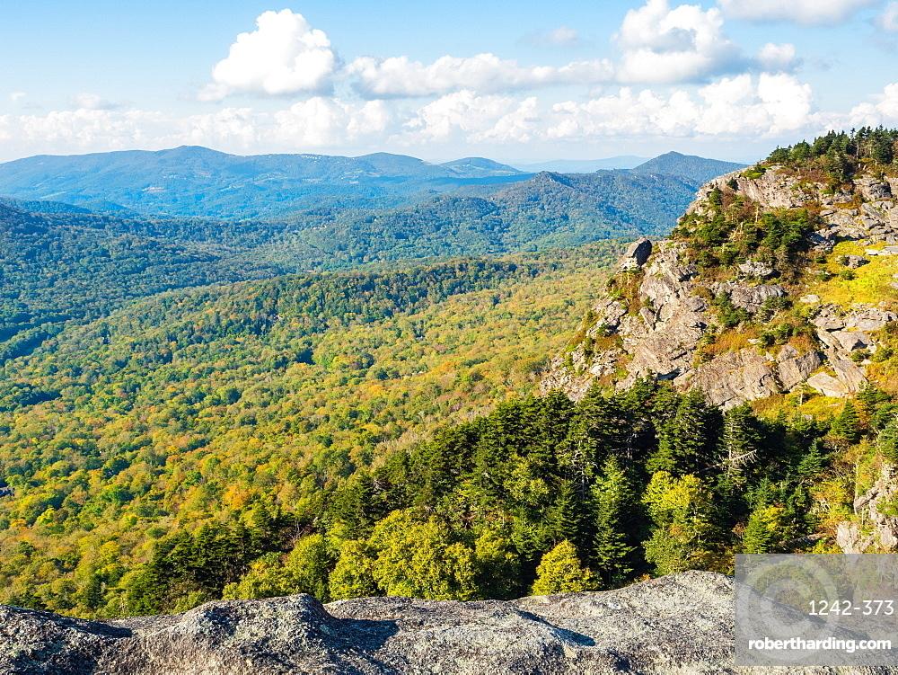 View from the peak of Grandfather Mountain, Blue Ridge Mountains, Appalachia, North Carolina, United States of America, North America